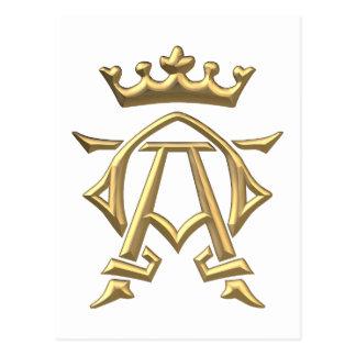 """Símbolo """"3-D"""" dourado alfa e de Omega w/Crown Cartão Postal"""