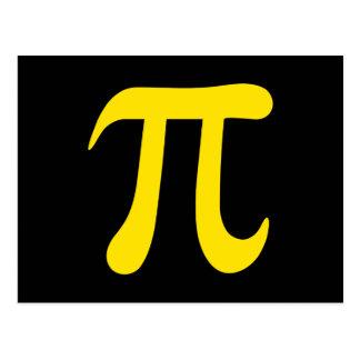 Símbolo amarelo do pi no fundo preto cartão postal