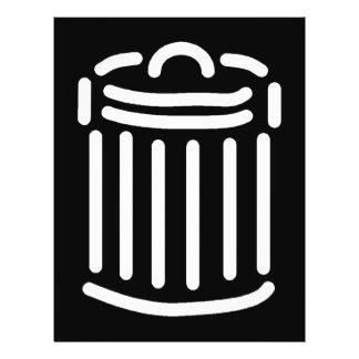 Símbolo branco do balde do lixo modelo de panfletos