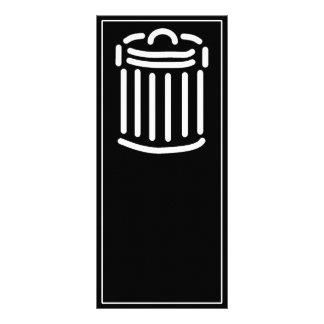 Símbolo branco do balde do lixo 10.16 x 22.86cm panfleto