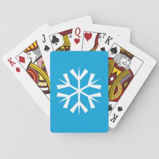 Símbolo branco do floco de neve no fundo azul jogo de baralho