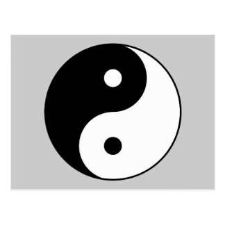 símbolo branco preto de yang do yin cartão postal