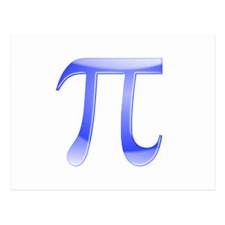 Símbolo brilhante do Pi do azul Cartão Postal