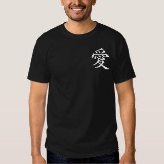 Símbolo chinês branco do amor tshirt