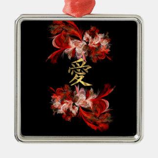 Símbolo chinês do amor no fractal vermelho ornamento quadrado cor prata