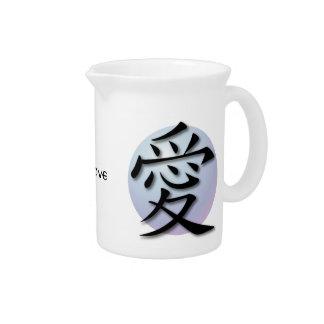 Símbolo chinês dos jarros para o amor na esfera