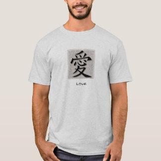 Símbolo chinês dos t-shirt básicos para o amor no camiseta