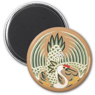 Símbolo chinês elegante da boa sorte do pássaro ímã redondo 5.08cm