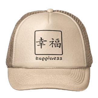 Símbolo chinês para a felicidade bonés
