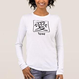 Símbolo chinês para o amor camiseta manga longa