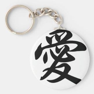Símbolo chinês para o amor (escovado) chaveiro