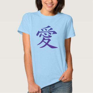 Símbolo chinês para o amor tshirts