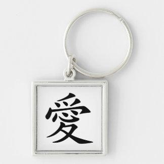 Símbolo chinês preto do amor chaveiros