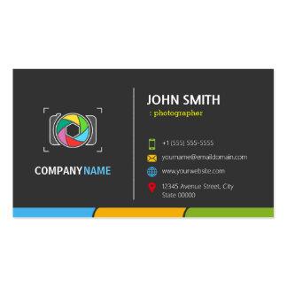 Símbolo colorido escuro à moda da câmera cartão de visita