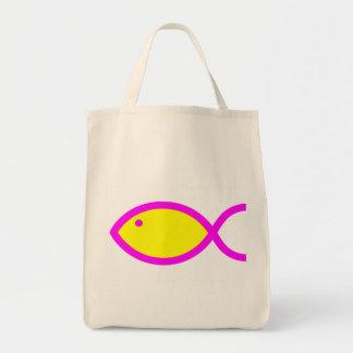 Símbolo cristão dos peixes - amarelo com rosa bolsas para compras