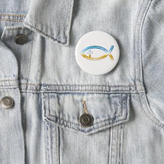Símbolo cristão dos peixes com crucifixo - céu & bóton redondo 5.08cm