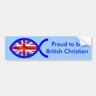 Símbolo cristão dos peixes da bandeira britânica adesivo para carro