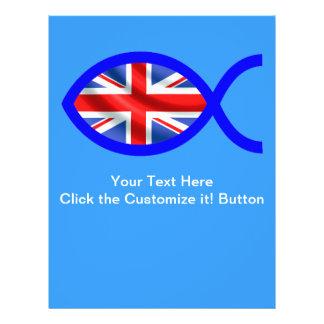 Símbolo cristão dos peixes da bandeira britânica panfleto personalizado