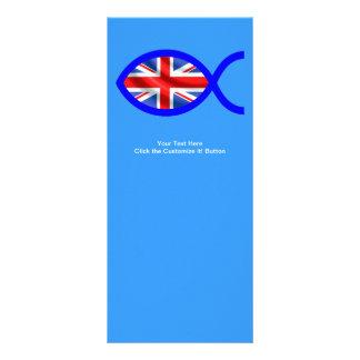 Símbolo cristão dos peixes da bandeira britânica 10.16 x 22.86cm panfleto
