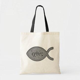 Símbolo cristão dos peixes de IXOYE - efeito de pe Bolsas De Lona
