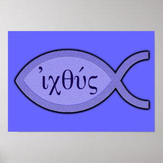 Símbolo cristão dos peixes de IXOYE - pergaminho a Posters