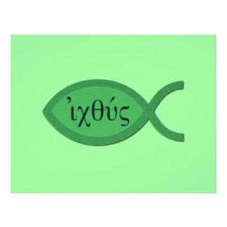 Símbolo cristão dos peixes de IXOYE - pergaminho v Panfleto Personalizados