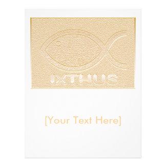 Símbolo cristão dos peixes de IXTHUS - ouro Modelo De Panfleto