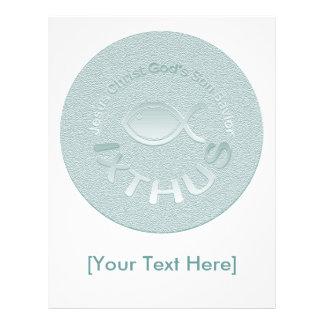 Símbolo cristão dos peixes de IXTHUS - PRATA Panfletos Coloridos
