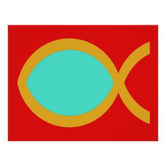 Símbolo cristão dos peixes panfletos coloridos