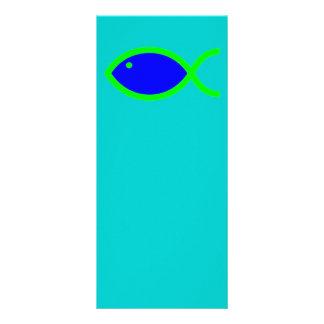 Símbolo cristão dos peixes - RUIDOSAMENTE! Azul e 10.16 X 22.86cm Panfleto