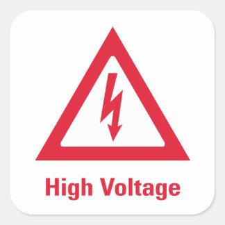 Símbolo da alta tensão do perigo adesivo quadrado