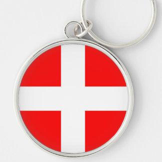 símbolo da bandeira de romania da cidade do chaveiro redondo na cor prata