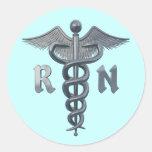 Símbolo da enfermeira diplomada adesivos em formato redondos