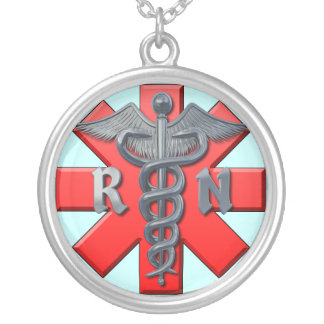 Símbolo da enfermeira diplomada colar com pendente redondo