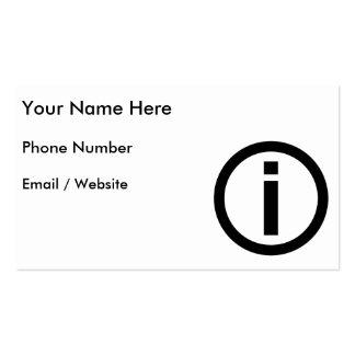 Símbolo da informação - turismo cartão de visita