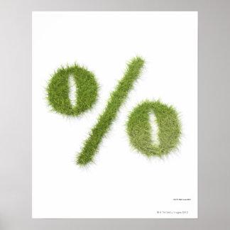 Símbolo da porcentagem feito da grama posteres