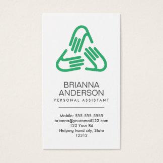 Símbolo das mãos amiga, verde, assistente pessoal cartão de visitas
