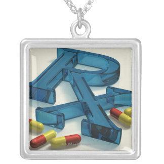 símbolo de 3D RX com cápsulas Colar Banhado A Prata