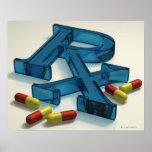 símbolo de 3D RX com cápsulas Pôsteres