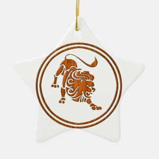 Símbolo de madeira cinzelado do zodíaco de Leo Ornamento De Cerâmica Estrela