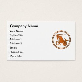 Símbolo de madeira cinzelado do zodíaco do cartão de visitas