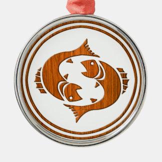 Símbolo de madeira cinzelado do zodíaco dos peixes ornamento redondo cor prata