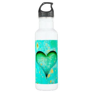 Símbolo de madeira resistido do coração da pintura garrafa