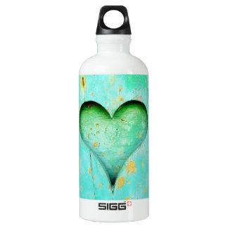 Símbolo de madeira resistido do coração da pintura garrafa d'água de alumínio