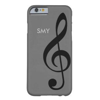 símbolo de música (clef de triplo) com iniciais capa barely there para iPhone 6