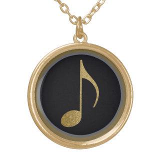 símbolo de música colar com pendente redondo