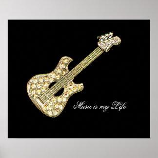Símbolo de música da guitarra posteres