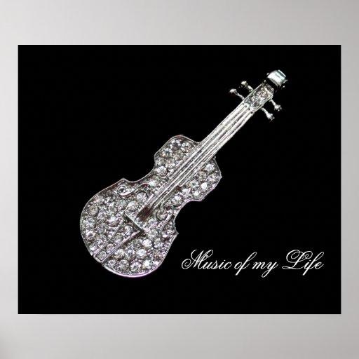 Símbolo de música da guitarra pôsteres