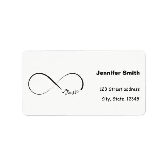Símbolo de música da infinidade etiqueta de endereço