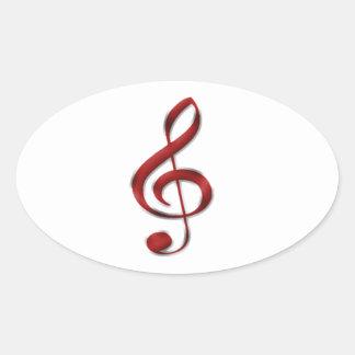 Símbolo de música vermelho de Gclef Adesivo Oval